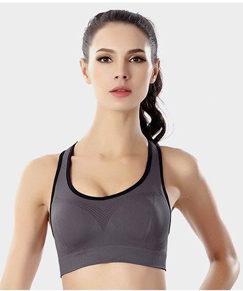áo bra crop top thể thao xám viền đen