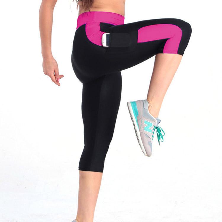 quần lửng tập gym yoga nữ phối màu hồng đen