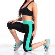 quần lửng tập gym yoga nữ phối màu xanh đen