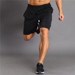 quần short tập gym nam màu đen