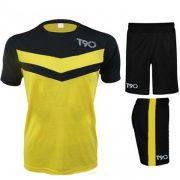 Quần áo bóng đá T90 vàng phối đen