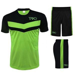 Quần áo bóng đá T90 màu da quang phối đen