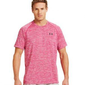Áo thun thể thao nam Under Armour màu hồng cổ tròn