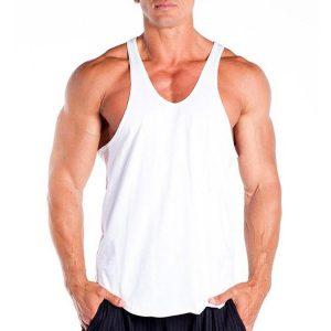 áo ba lỗ tập gym cổ chữ y trắng