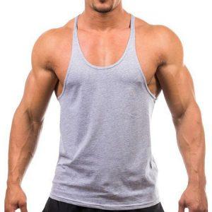 áo ba lỗ tập gym cổ chữ y xám