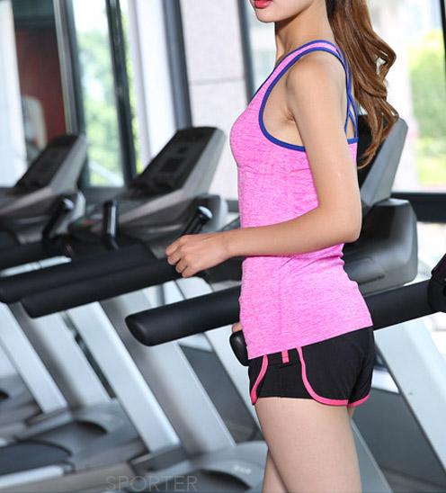 áo thun tanktop ba lỗ tập gym yoga nữ hồng dây chéo