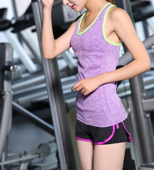 áo thun tanktop ba lỗ tập gym yoga nữ tím dây chéo