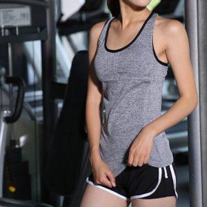 áo thun tanktop ba lỗ tập gym yoga nữ xám dây chéo