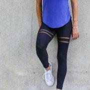 quần legging phối lưới đùi thể thao
