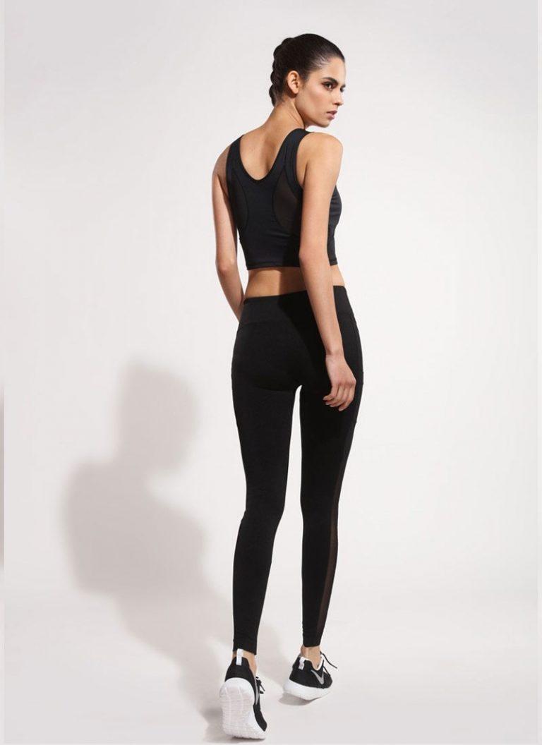 quần legging đen phối lưới đẹp