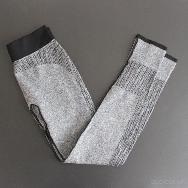 quần legging dệt 2 màu xám đen thể thao