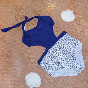 áo tắm đồ bơi nữ 360s liền đũng cạp cao xanh đen hoạ tiết vảy cá