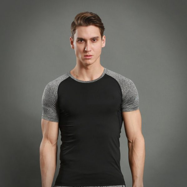 áo thun nam thể thao 360s Breathable đen xám