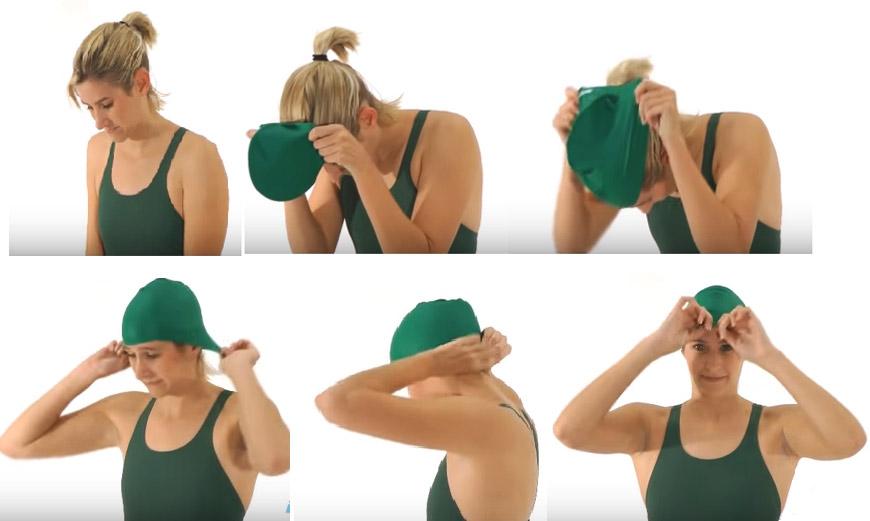 hướng dẫn cách đội mũ nón bơi đúng chuẩn