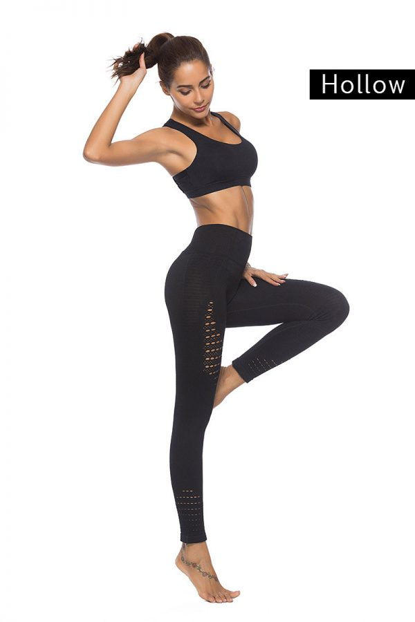 quần legging nữ thể thao hollow đen phối lưới