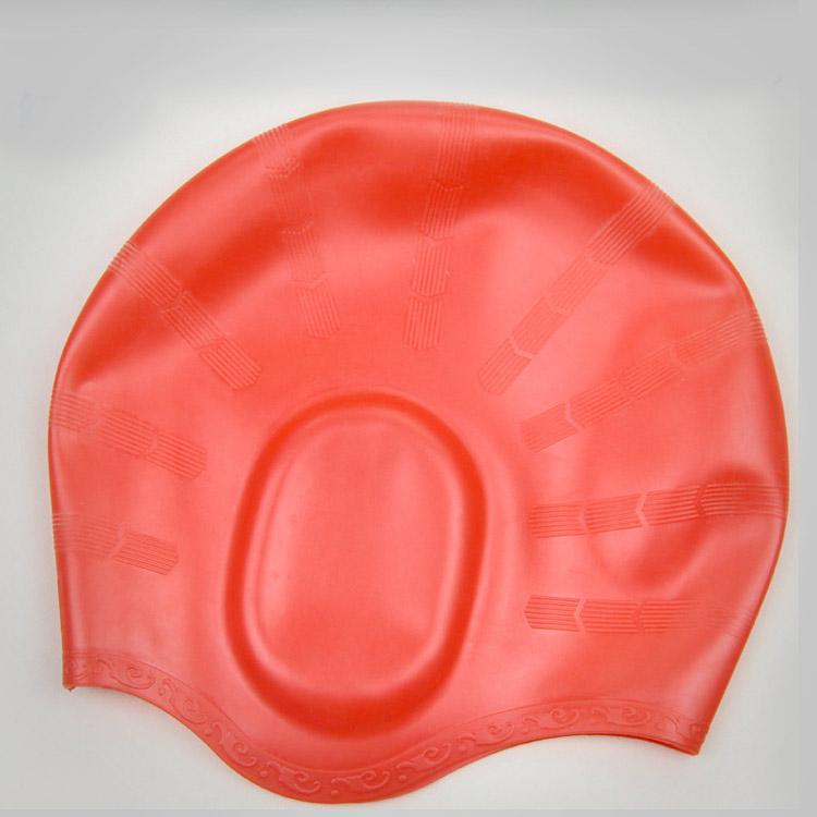 nón mũ bơi nam nữ Silicon màu đỏ không trơn không thấm nước