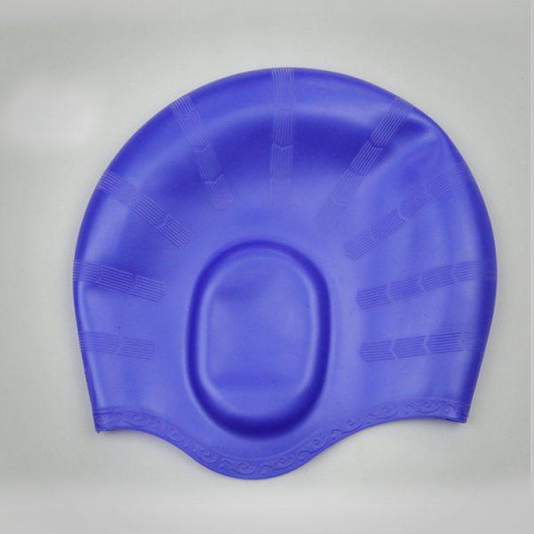 nón mũ bơi nam nữ Silicon màu xanh không trơn không thấm nước