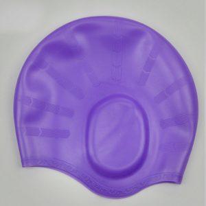 nón mũ bơi nam nữ Silicon màu tím không trơn không thấm nước