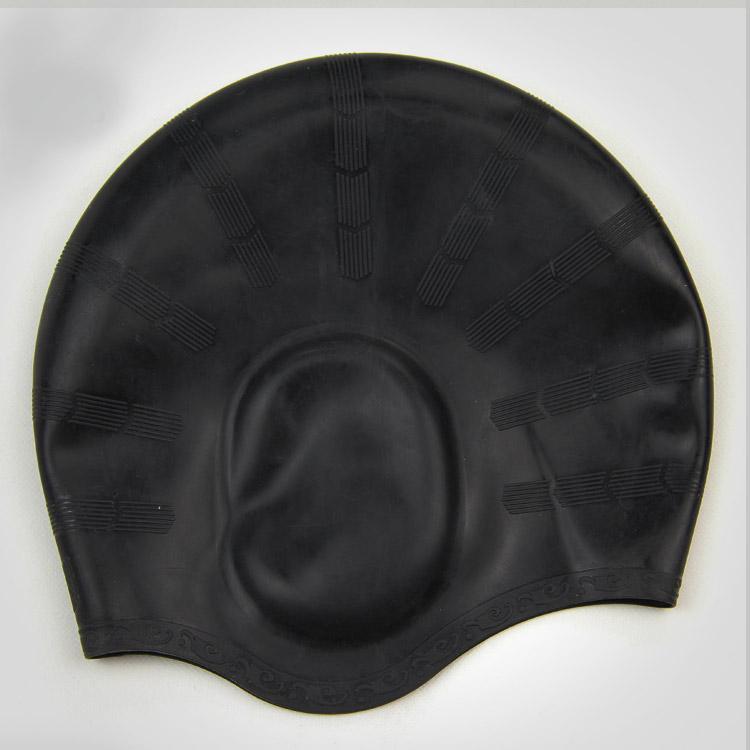 nón mũ bơi nam nữ Silicon màu đen không trơn không thấm nước