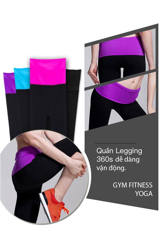 quần legging lưng cao 360s shaping đen phối tím