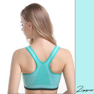Áo bra zipper màu xanh lá