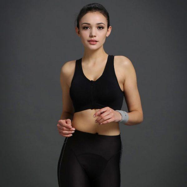 áo ngực thể thao 360s zipper đen