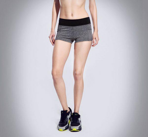 quần short thể thao nữ xám đen 360s
