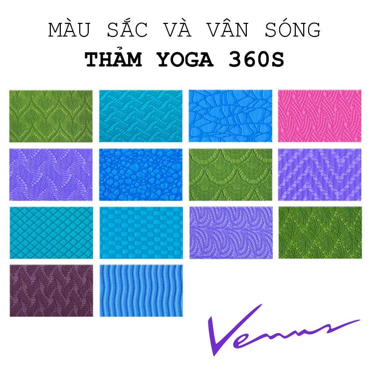 màu sắc thảm yoga 360s venus