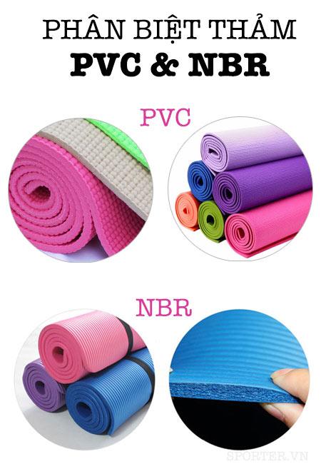 phân biệt thảm yoga pvc và nbr
