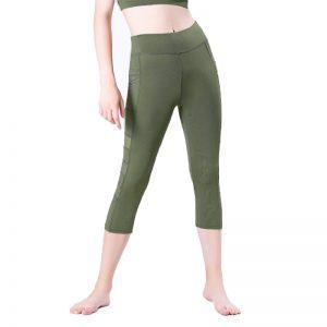 Quần legging lửng grid xanh rêu