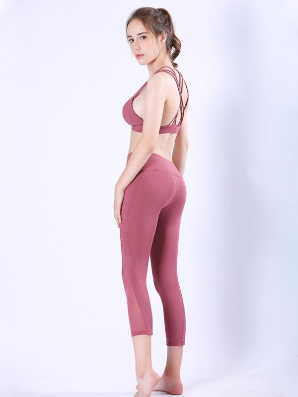 Quần legging lửng power hồng