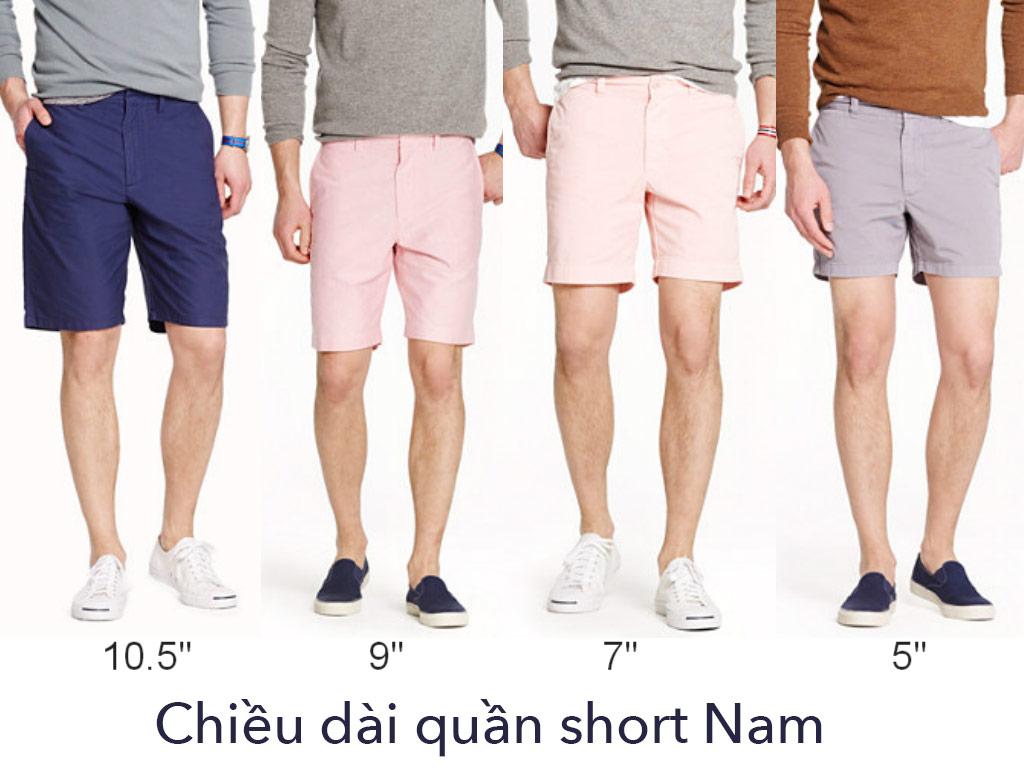 chiều dài quần short nam