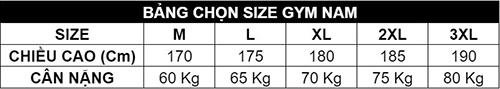 Bảng size gym nam